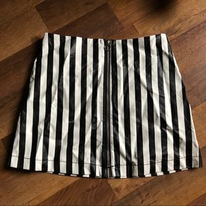 Striped Pleather Skirt